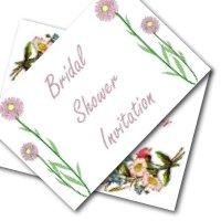 Bridal shower printable invitations - simple flower designs