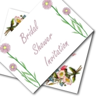 Bridal shower printable invitations - simple flower designs