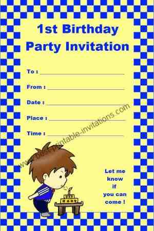 Free printable 1st Birthday Invitation
