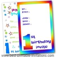 1st Birthday  Party Invitations - Free Printable Invites
