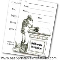 Spooky halloween party invitations - Free printable scary skeleton invites