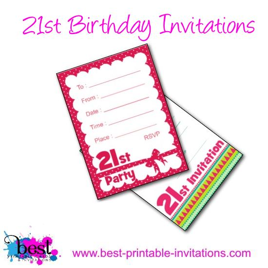 21st Birthday Invitation - Free printable party invites