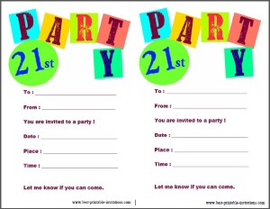 Free Printable 21st birthday party invitations