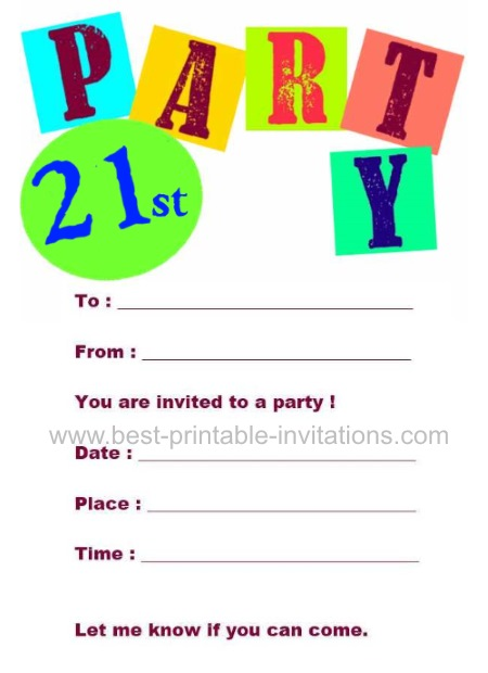 printable 21st birthday party invitations