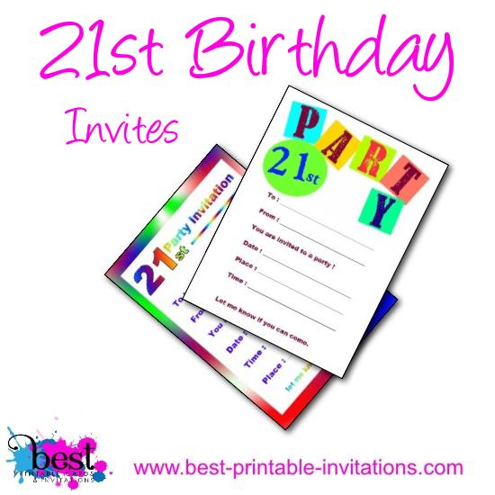 Printable 21st Birthday Party Invitation Templates - Free
