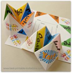 Printable Kids Origami Chatterbox Invitations