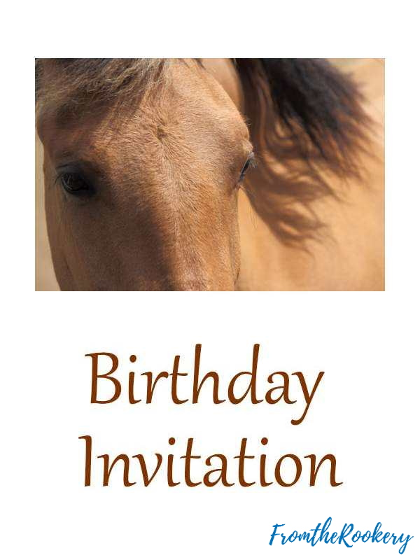 Free printable horse party invitations