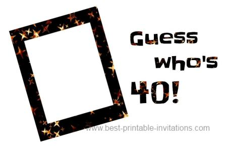 40th Birthday Party Invitation Ideas - Free printable fortieth invites