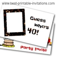 40th Birthday Invitations Free Printable Party Invites