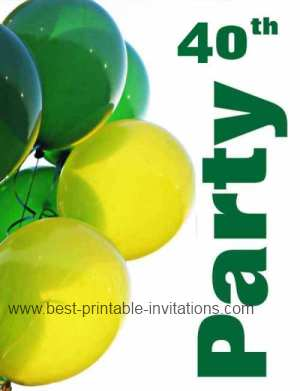 Free printable 40th Birthday Party Invitations