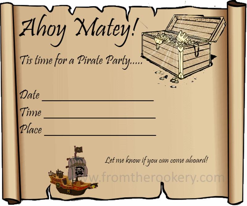 Pirate Treasure Invitation