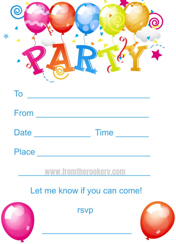 Printable Kids Birthday Party Invites
