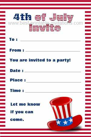 4th of July Party Invitations - Free Printable Invites