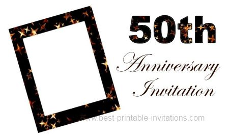 graphic relating to 50th Wedding Anniversary Cards Free Printable identified as Printable 50th Anniversary Invitation