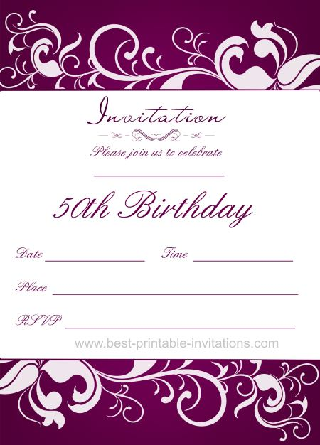 Purple 50th Birthday Party Invitations