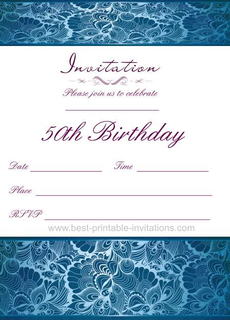 Printable 50th Birthday Party Invitations - Blue Invites