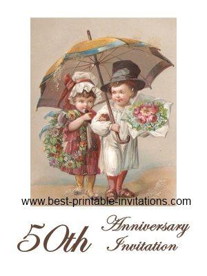 50th Wedding Anniversary Invitation - Free Printable Card