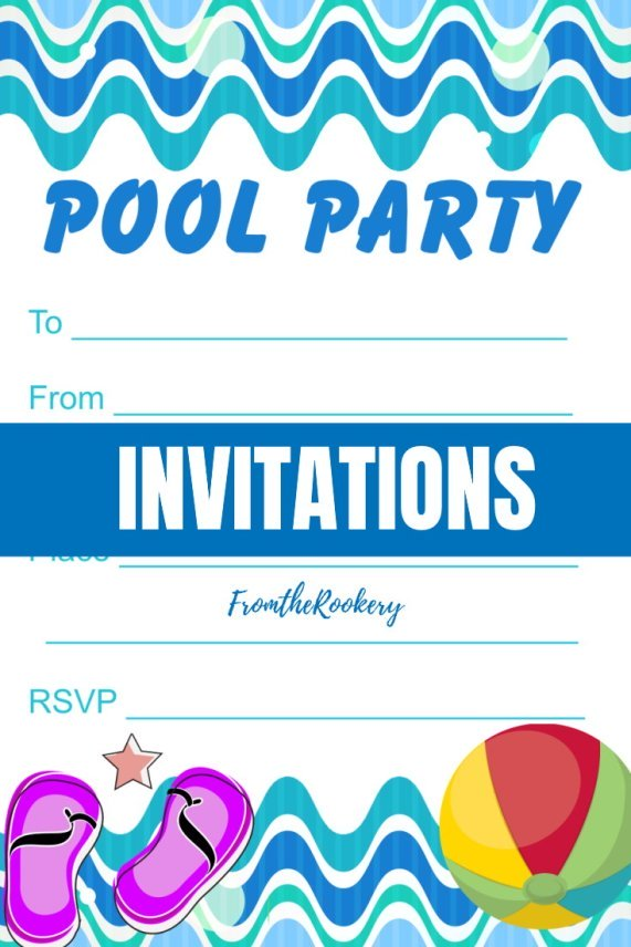 Waves Pool Party Invitations