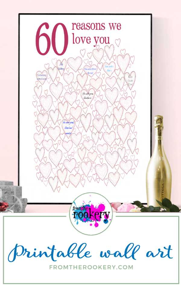 60 Reasons We Love You - 60th party guest book