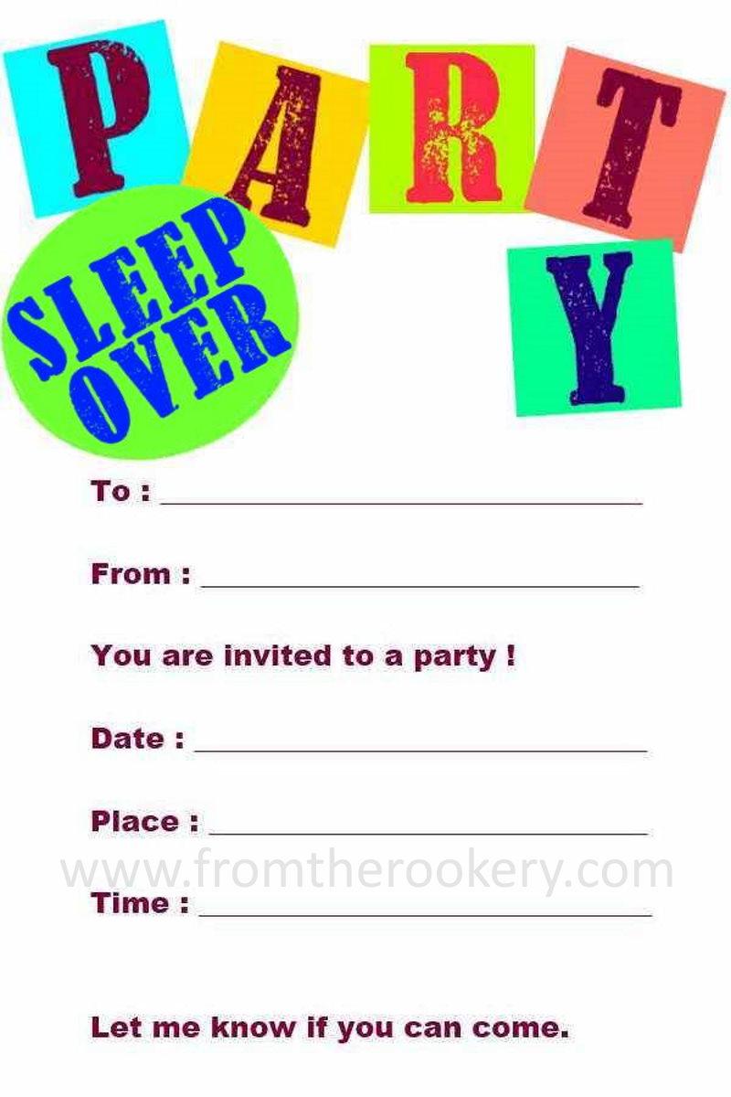 Printable Sleepover Invitations - Free Slumber Party Invites