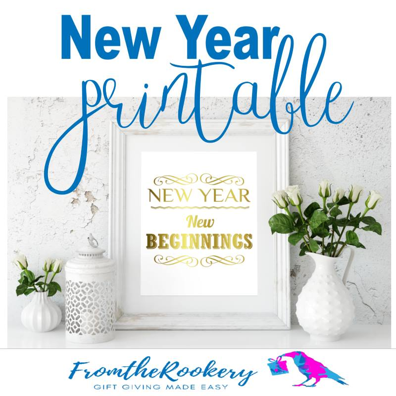 New Year Printable Sign - New Year, New Beginnings
