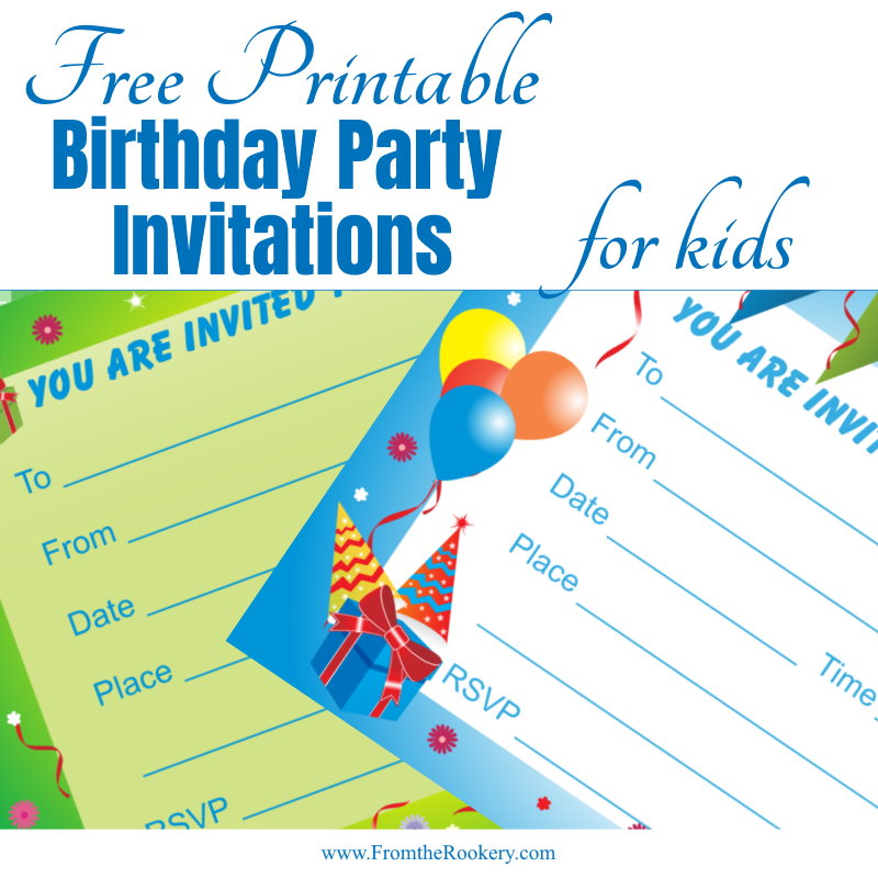 Free Printable Birthday Party Invitations for Kids