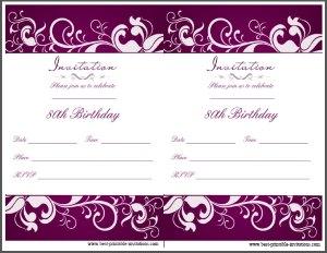 Printable 80th Birthday Invitation