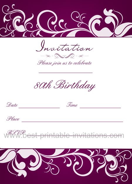 Slobbery image inside 80th birthday invitation templates free printable