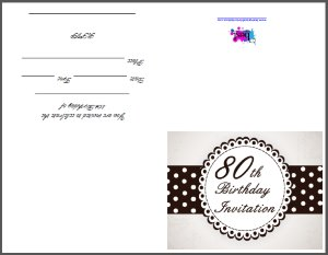 80th Birthday Party Invitation Templates