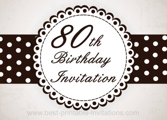 80th Birthday Party Invitation - Free Printable
