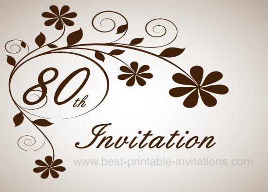 Floral 80th Birthday Party Invitation Card
