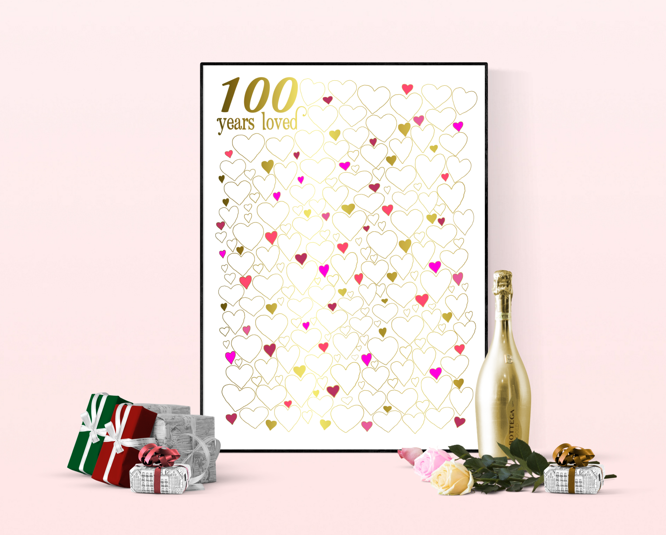 100 years loved poster - 100th birthday gift idea www.fromtherookery.com