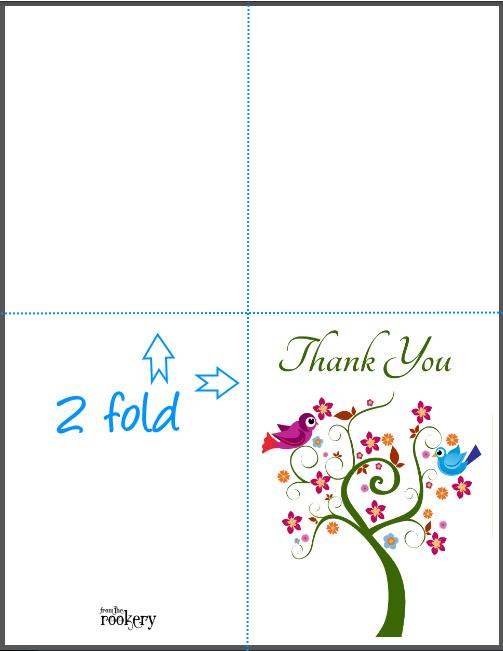 Thank You Card DIGITAL A7 5x7 Printable Card Cut and Fold Printable Card Print at Home