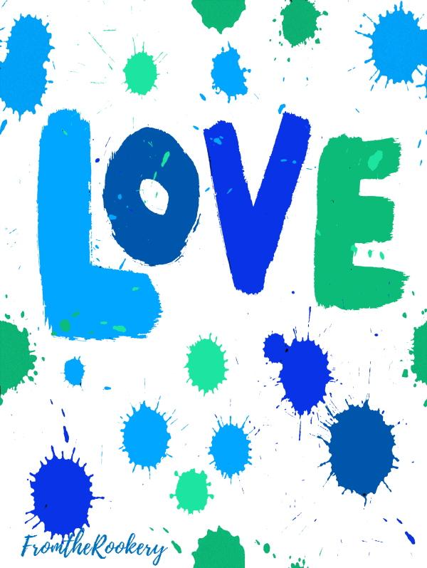Love printable card blue