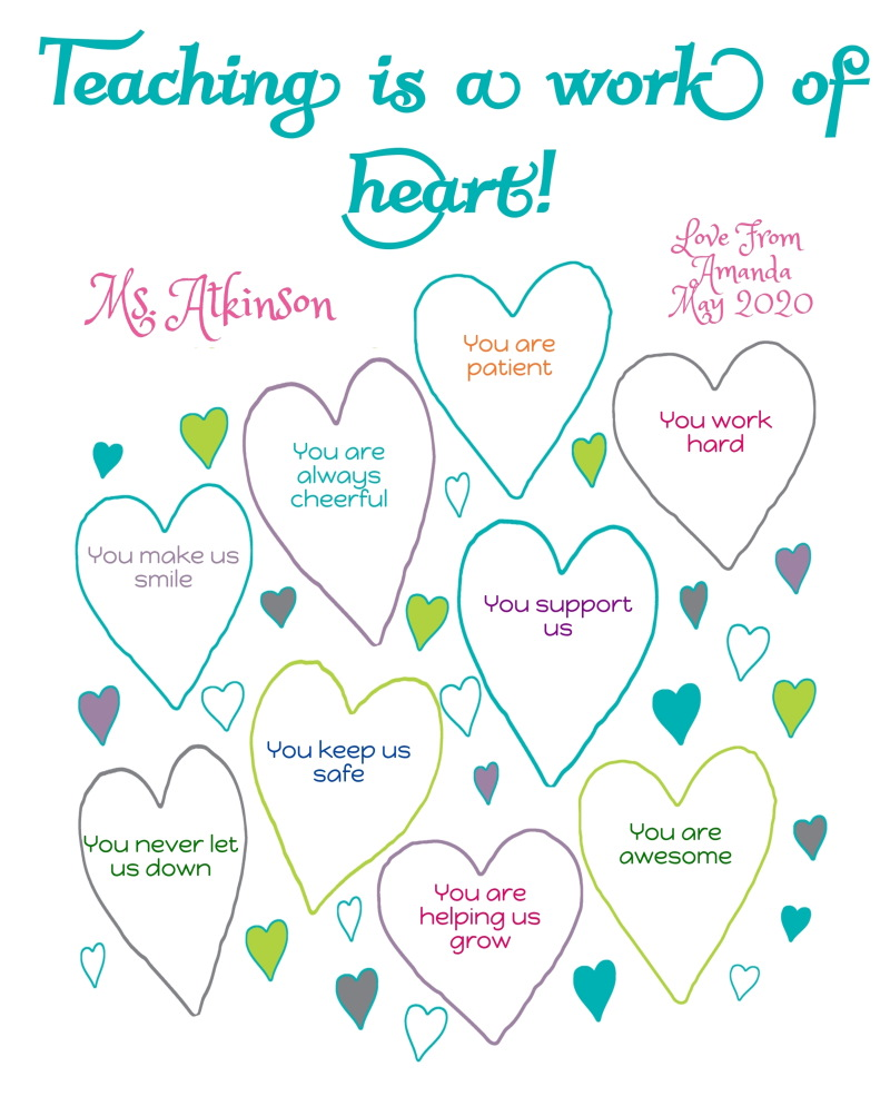 Teaching is a work of heart personalized teacher appreciation gift