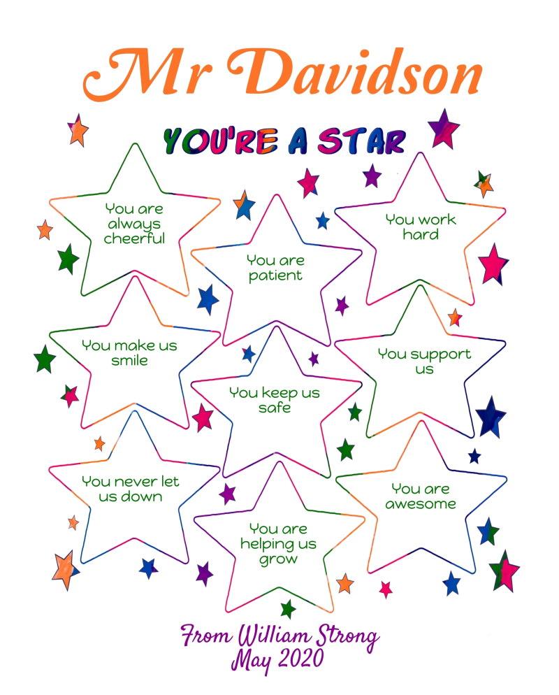Male Teacher appreciation printable - you're a star
