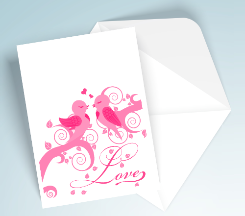 Printable Love Cards - Pink Birds