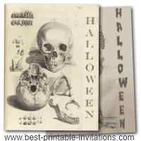Adult halloween party invitations - Free printable skull and skeleton invites
