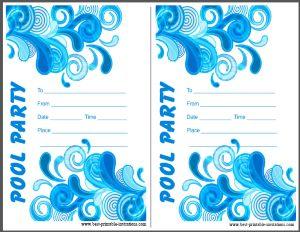 Printable Adult Pool Party Invitations
