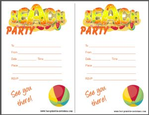 Printable Beach Party Invitation