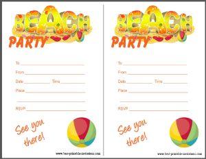 Printable Beach Party Invitation