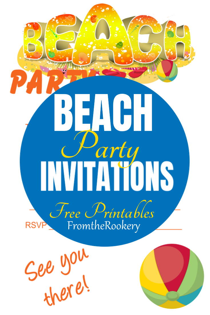 Free printable beach party invitation templates