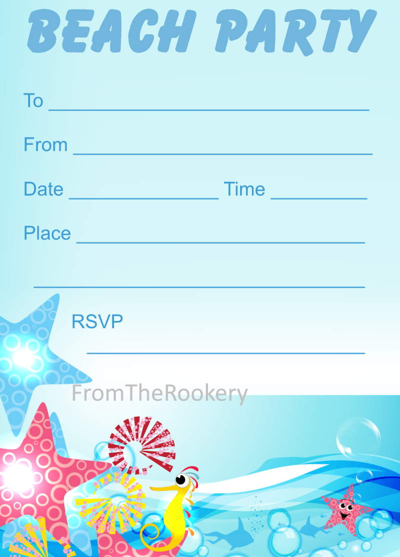 printable beach party invitations, Party invitations