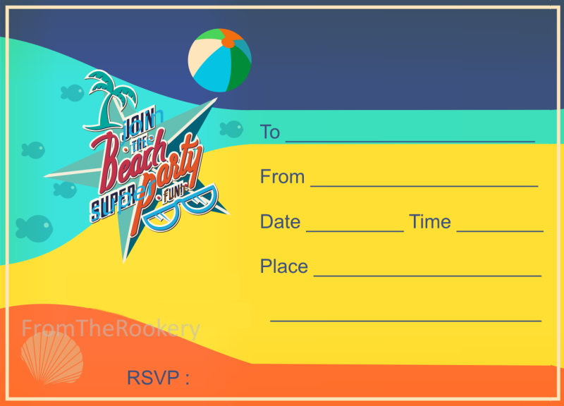 Beach Party Invitations for Boys