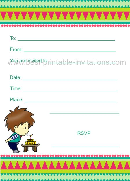 Birthday Invitations for Kids - Boy Party Invite
