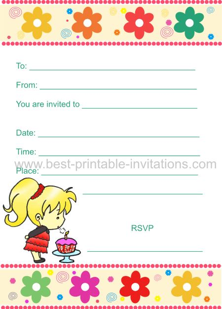 Birthday Invitations for Kids - Girl Party Invite