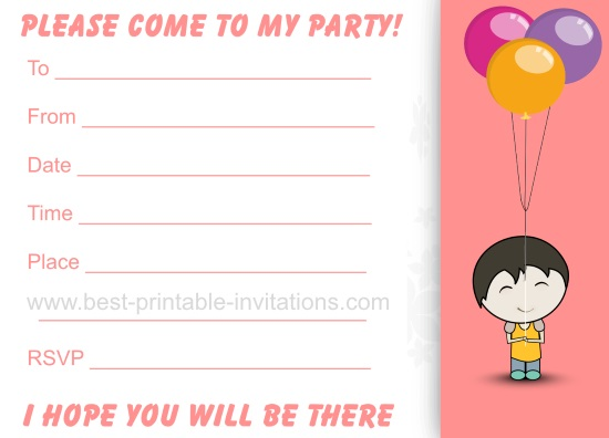 Birthday Invitations - Free Printable Kids Party Invites