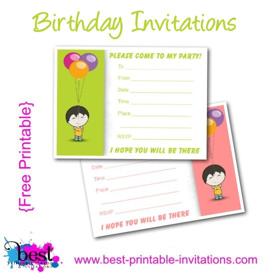 Printable Birthday Invitations Free - Kids Party Invites