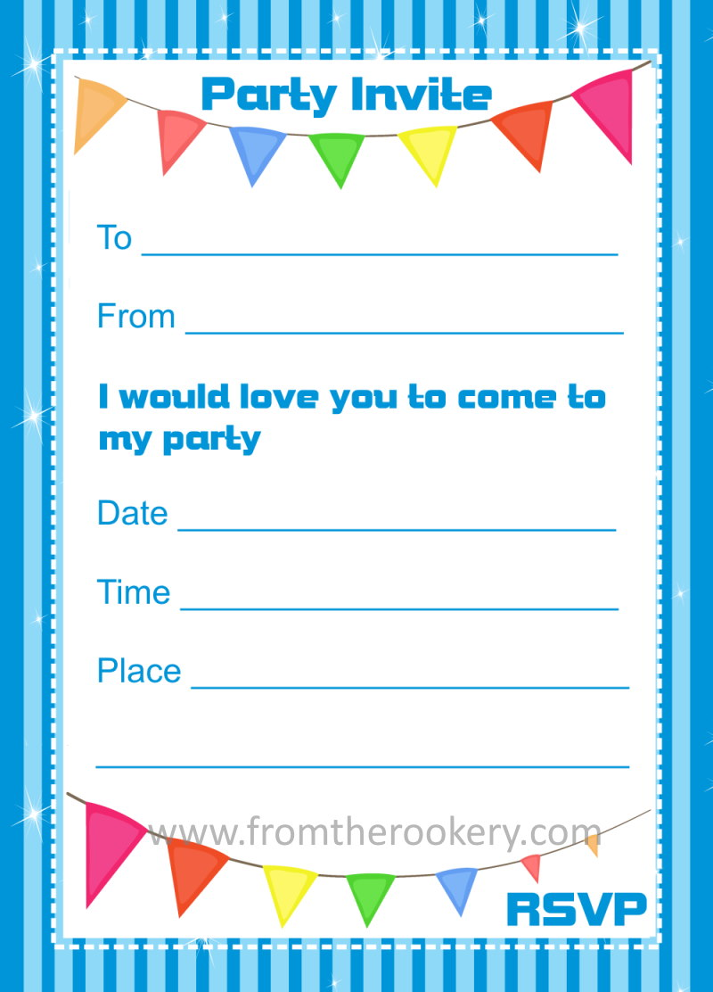 image about Printable Party Invitations named Birthday Invites - Printable