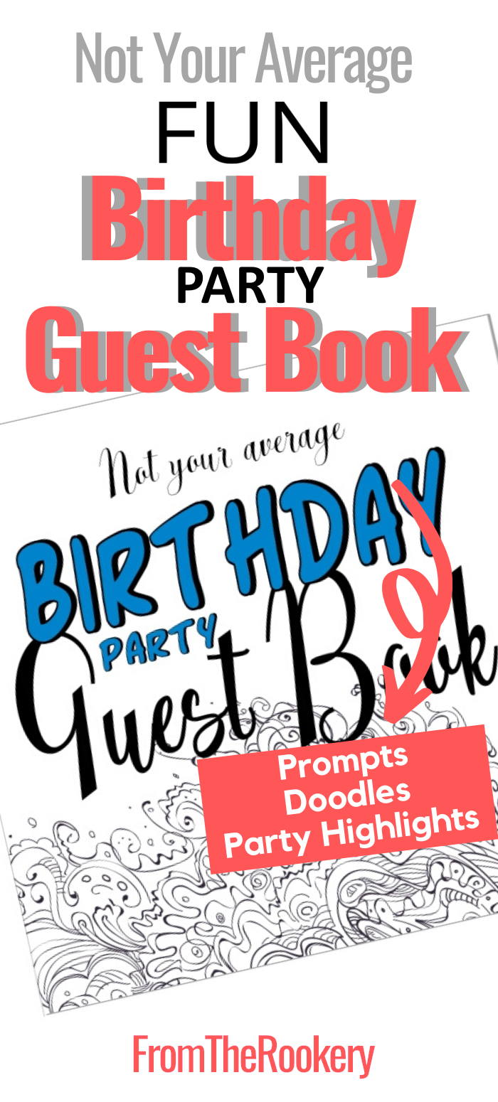 Fun birthday party guest book